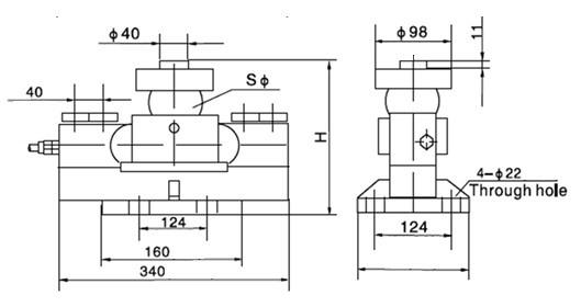 Chiều cao lắp đặt Cảm biến lực HM9B 40t~50t