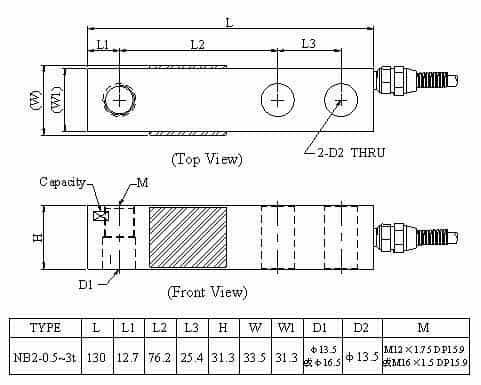 Kích thước lắp đặt Loadcell Mavin NB2 (0.5~3t)
