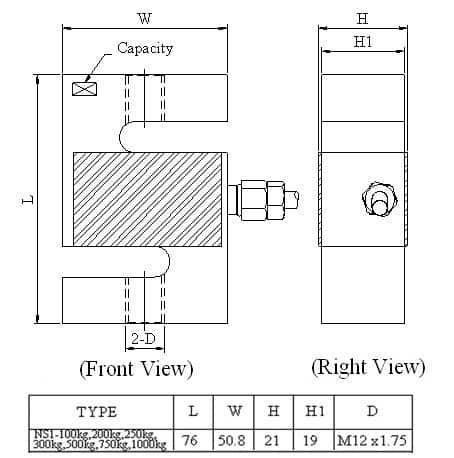 Thông số lắp đặt Loadcell Mavin NS1