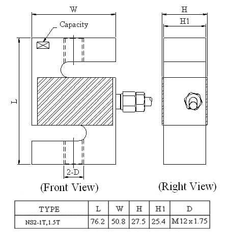 Thông số lắp đặt Loadcell Mavin NS2
