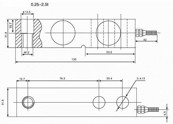 Kích thước lắp đặt Loadcell SQB-D 0.25~2.5t